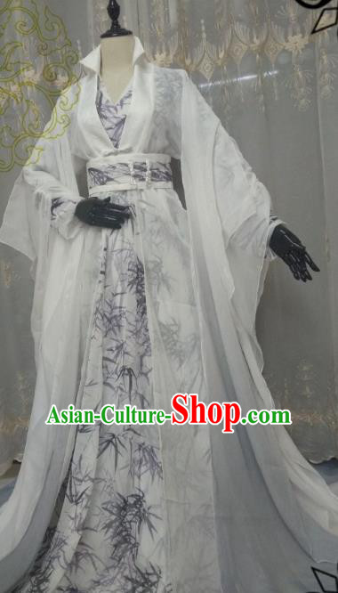 Chinese Ancient Nobility Childe Knight White Costume Cosplay Swordsman Royal Highness Clothing for Men