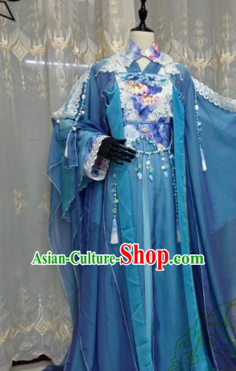 Chinese Ancient Fairy Green Costume Cosplay Swordswoman Clothing Tang Dynasty Princess Hanfu Dress for Women
