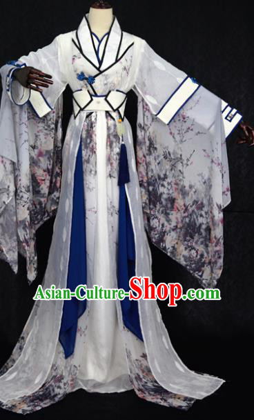Chinese Ancient Cosplay Swordswoman Costume Han Dynasty Nobility Lady Embroidered Hanfu Dress for Women