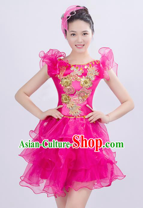 Top Grade Stage Performance Costume Chorus Singing Group Opening Modern Dance Rosy Bubble Dress for Women