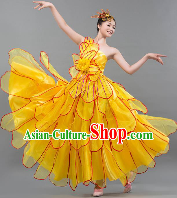 Top Grade Stage Performance Costume Chorus Singing Group Opening Modern Dance Yellow Bubble Dress for Women