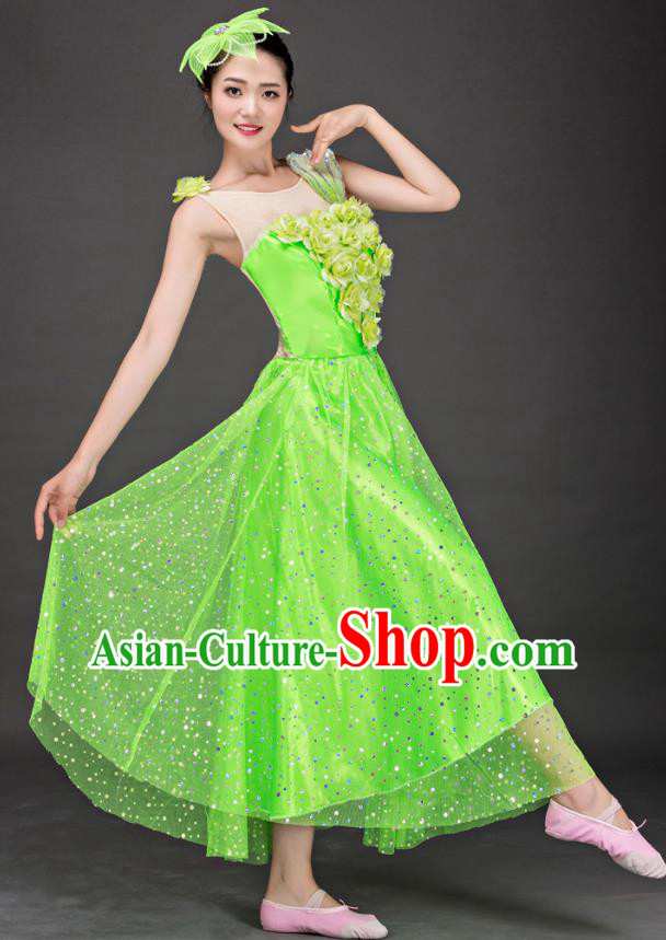 Top Grade Stage Performance Folk Dance Costume Chorus Modern Dance Green Dress for Women