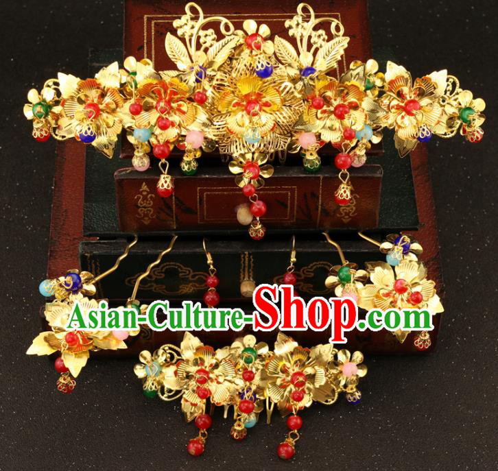 Chinese Traditional Hair Accessories Bride Xiuhe Suit Hair Comb Ancient Jade Hairpins Complete Set for Women
