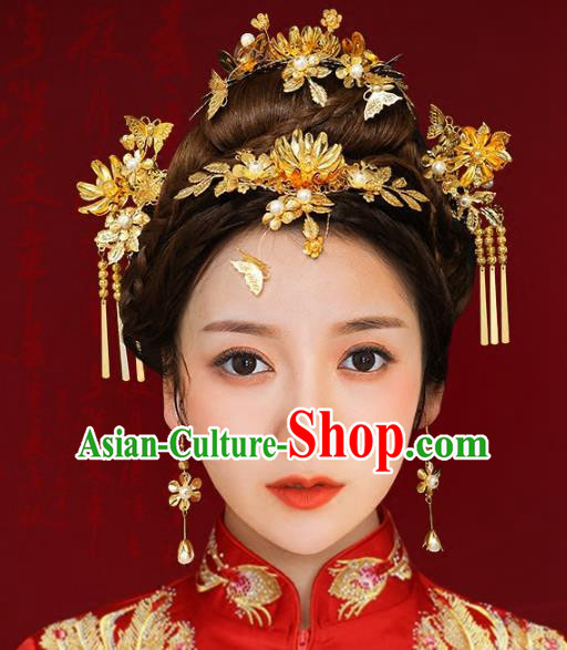 Chinese Traditional Hair Accessories Xiuhe Suit Handmade Hair Clips Ancient Hairpins Tassel Step Shake for Women