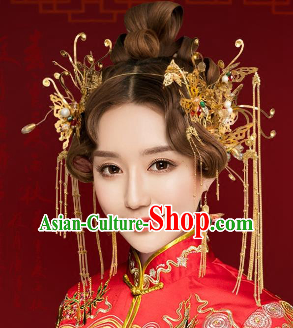 Chinese Traditional Hair Accessories Xiuhe Suit Handmade Tassel Phoenix Coronet Ancient Hairpins Step Shake for Women
