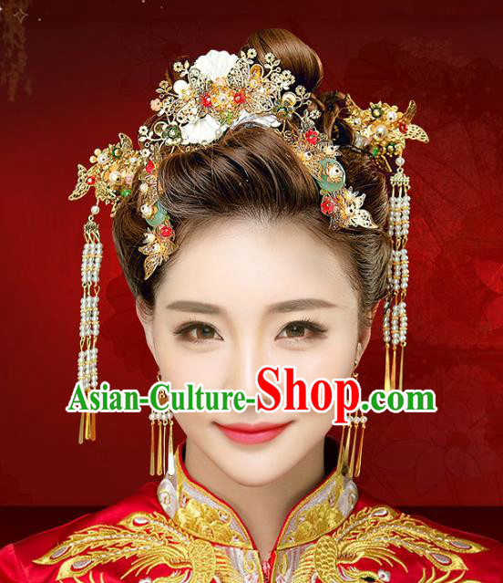 Chinese Traditional Xiuhe Suit Hair Accessories Shell Hair Comb Ancient Hairpins Complete Set for Women