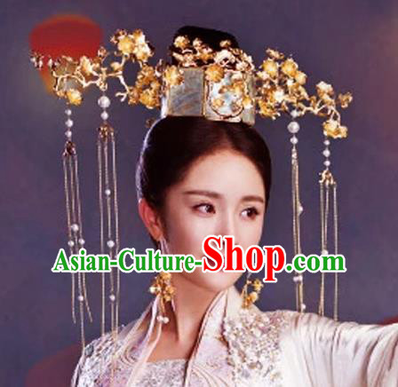 Chinese Traditional Handmade Hair Accessories Queen Phoenix Coronet Ancient Hairpins Complete Set for Women