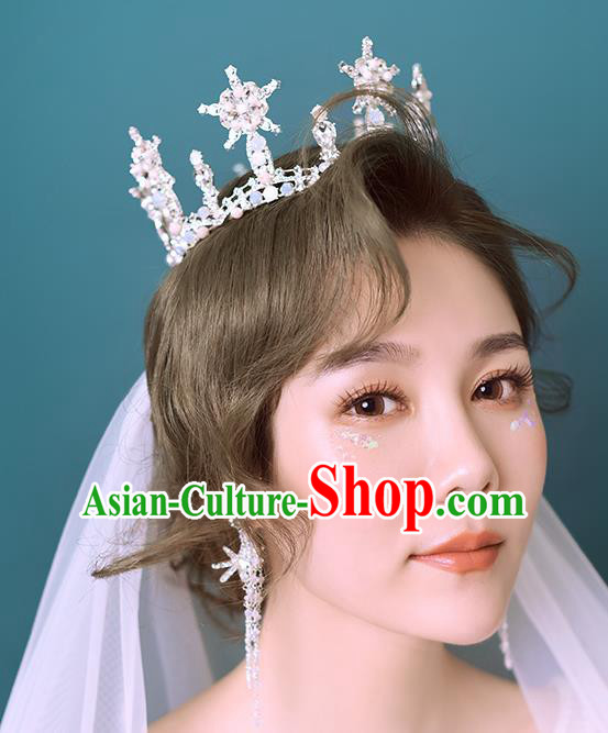 Baroque Style Hair Jewelry Accessories Bride Crystal Beads Royal Crown Princess Hair Clasp for Women