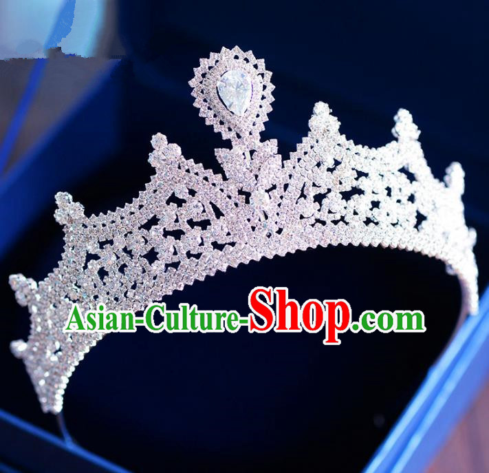 Handmade Baroque Hair Jewelry Accessories Zircon Royal Crown Princess Imperial Crown for Women