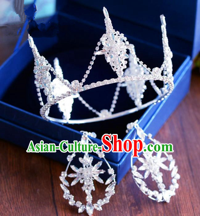 Handmade Baroque Hair Jewelry Accessories Royal Crown Princess Crystal Round Imperial Crown and Earrings for Women