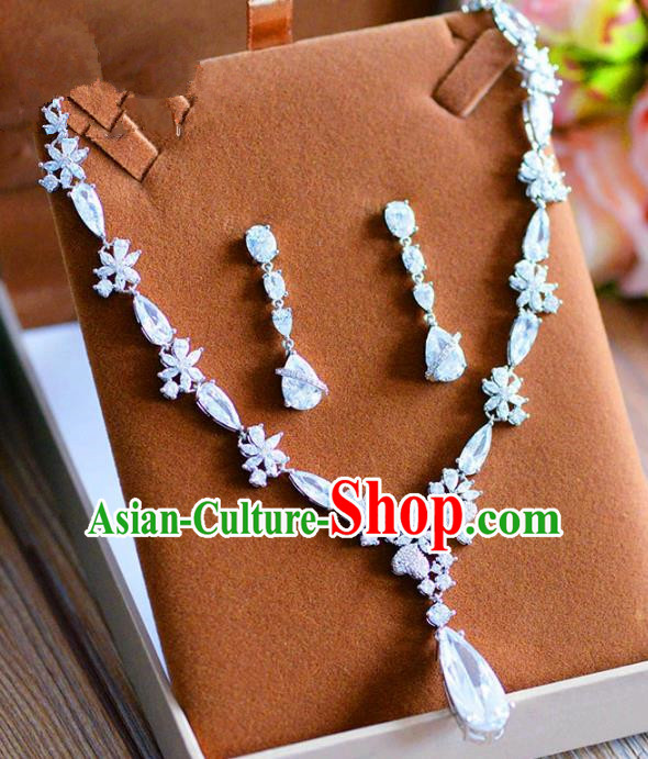 Top Grade Handmade Wedding Crystal Jewelry Accessories Zircon Necklace and Earrings for Women