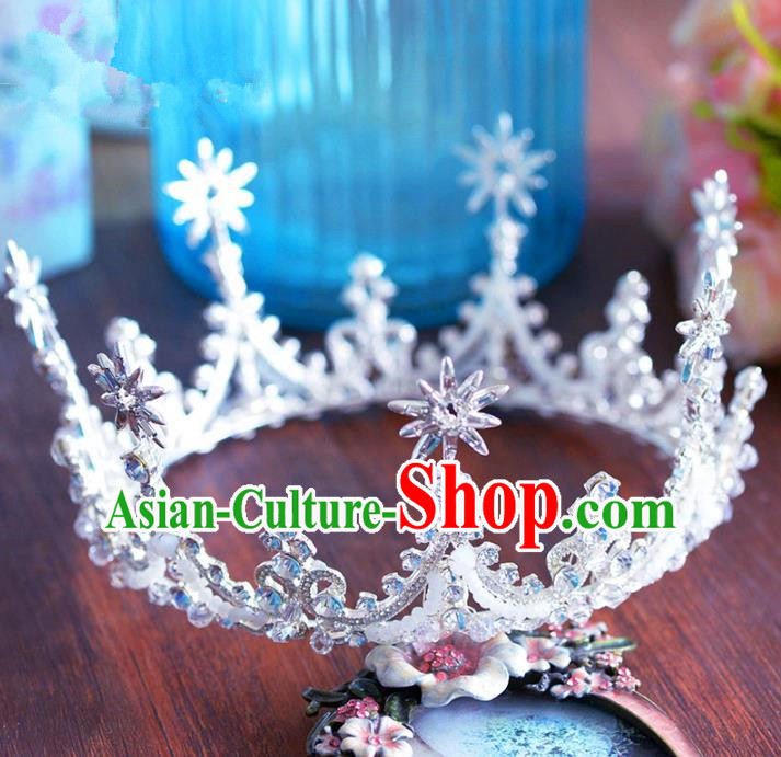 Handmade Hair Jewelry Accessories Baroque Royal Crown Bride Crystal Round Imperial Crown for Women