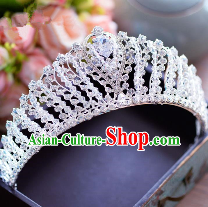 Top Grade Handmade Baroque Hair Accessories Princess Crystal Beads Royal Crown Headwear for Women