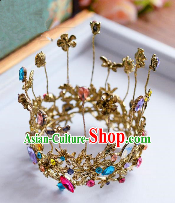Top Grade Handmade Hair Accessories Baroque Bride Round Royal Crown Headwear for Women
