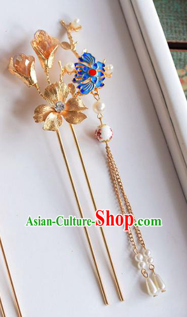 Ancient Chinese Handmade Classical Hair Accessories Palace Hairpins Blueing Lotus Hair Clip for Women