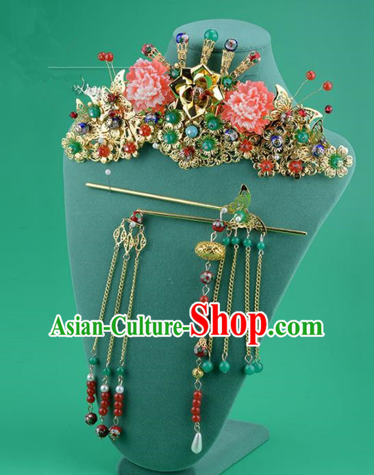 Ancient Chinese Handmade Classical Hair Accessories Palace Flowers Phoenix Coronet Hairpins Complete Set for Women