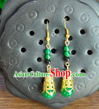 Top Grade Chinese Handmade Wedding Accessories Green Beads Eardrop Hanfu Earrings for Women
