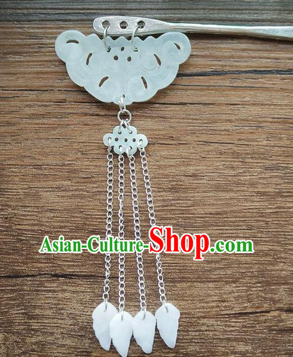 Ancient Chinese Handmade Hair Clip Hair Accessories Classical Palace Jade Cloud Hairpins for Women