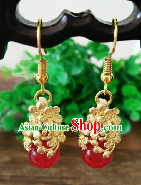 Chinese Handmade Accessories Hanfu Red Bead Eardrop Ancient Brass Earrings for Women