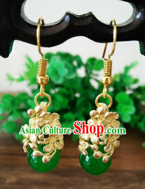Chinese Handmade Accessories Hanfu Green Bead Eardrop Ancient Brass Earrings for Women