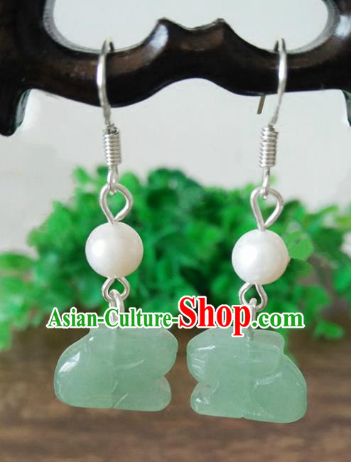 Chinese Handmade Accessories Hanfu Jade Rabbit Eardrop Ancient Tassel Earrings for Women