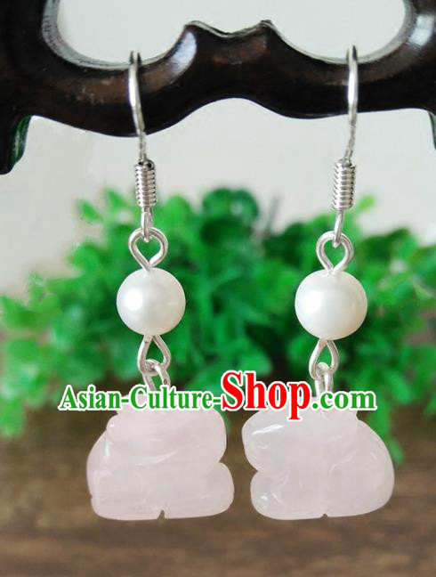 Chinese Handmade Accessories Hanfu Pink Jade Rabbit Eardrop Ancient Tassel Earrings for Women