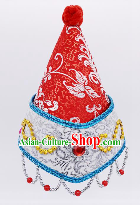 Traditional Chinese Mongol Nationality Red Hats Hair Accessories, Mongolian Minority Dance Headwear for Kids