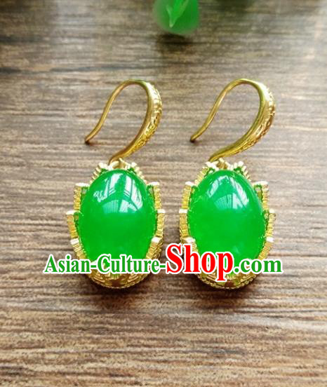 Chinese Handmade Accessories Hanfu Green Jade Eardrop Ancient Earrings for Women