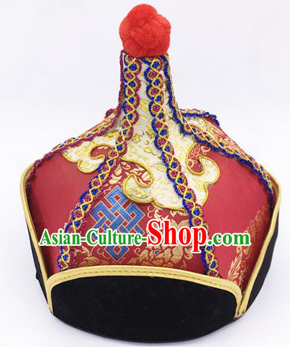Traditional Chinese Mongol Nationality Red Hat Hair Accessories, Handmade Mongolian Minority Prince Hats Headwear for Men