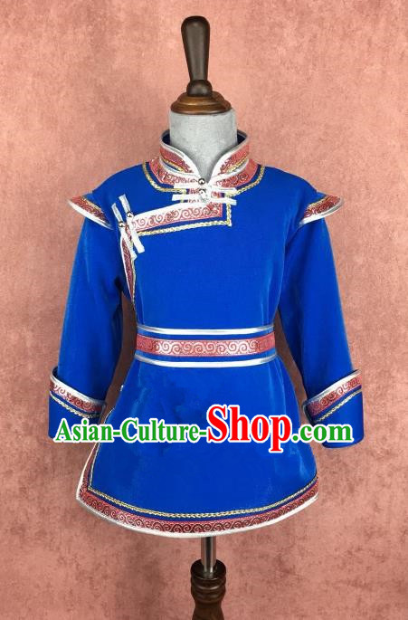 Traditional Chinese Mongol Nationality Costume, Mongolian Folk Dance Royalblue Robe Clothing for Kids
