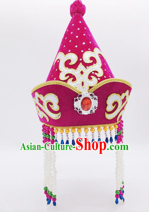 Traditional Chinese Mongol Nationality Purple Hats, Mongolian Minority Hair Accessories Dance Headwear for Kids