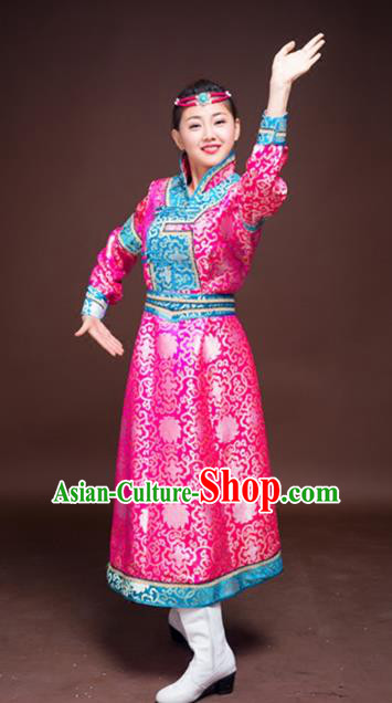 Chinese Mongol Nationality Ethnic Dance Costume, Traditional Mongolian Folk Dance Clothing Rosy Mongolian Robe for Women