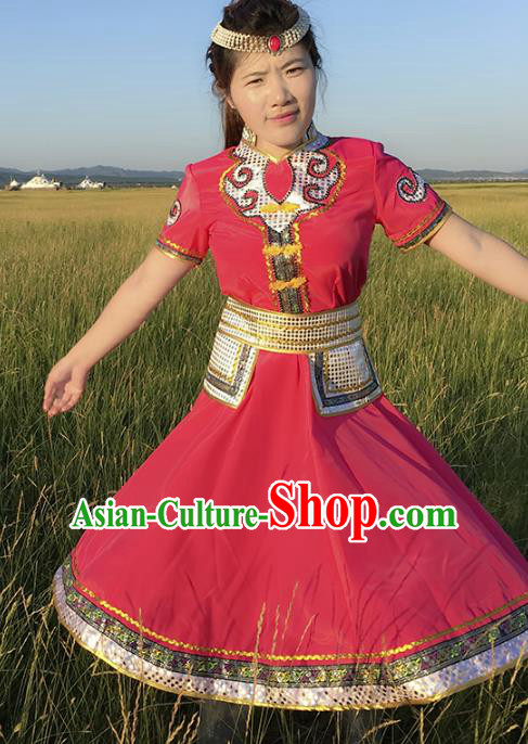 Chinese Mongol Nationality Ethnic Costume Rosy Dress, Traditional Mongolian Folk Dance Clothing for Women