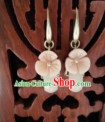 Chinese Handmade Accessories Hanfu White Jade Eardrop Ancient Earrings for Women