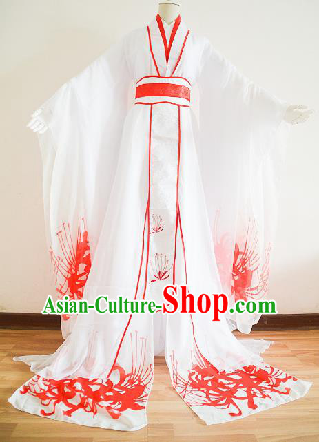 Chinese Ancient Cosplay Palace Princess Costume Jin Dynasty Swordswoman White Hanfu Dress for Women