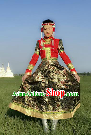 Chinese Traditional Mongol Nationality Female Ethnic Costume, Mongolian Folk Dance Mongolian Robe for Women