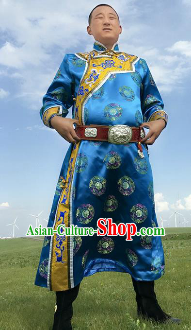 Chinese Mongol Nationality Ethnic Costume Blue Mongolian Robe, Traditional Mongolian Folk Dance Clothing for Men