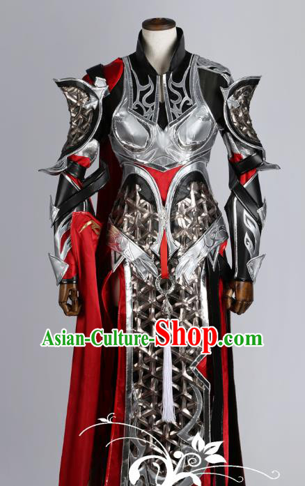 Chinese Traditional Ancient Swordswoman Female General Armour Costume and Boots for Women