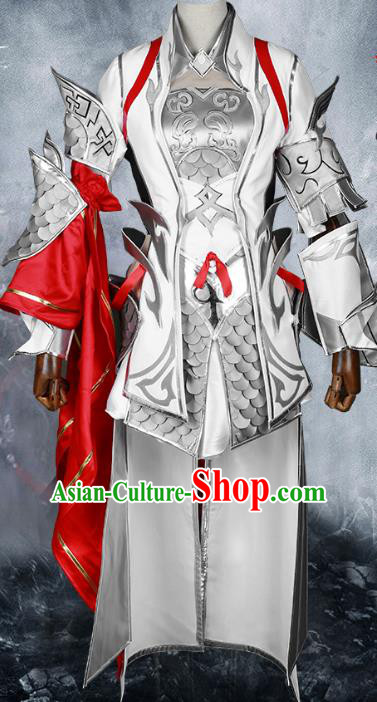 Chinese Traditional Ancient Young Lady Female Warrior Body Armor Cosplay Swordswoman Costume for Women