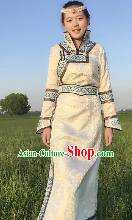 Chinese Mongol Nationality Female Ethnic Costume, Traditional Mongolian Folk Dance White Mongolian Robe for Women