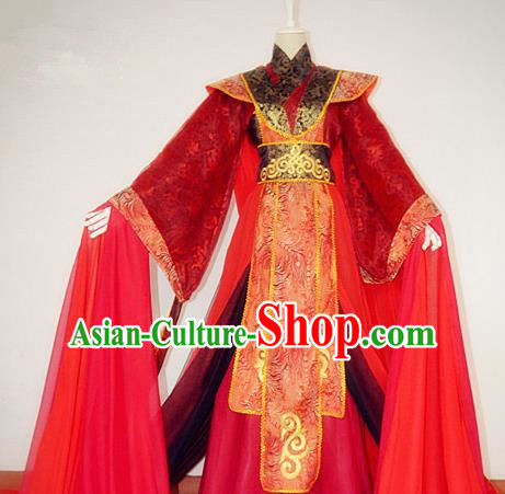 Chinese Han Dynasty Royal Highness Wedding Hanfu Ancient Swordsman Red Clothing for Men