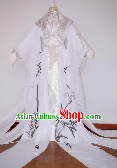 Chinese Han Dynasty Nobility Childe White Hanfu Ancient Swordsman Printing Bamboo Clothing for Men