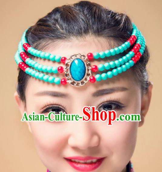 Chinese Traditional Mongol Stage Performance Hair Accessories, Mongolian Minority Folk Dance Green Beads Headwear for Women
