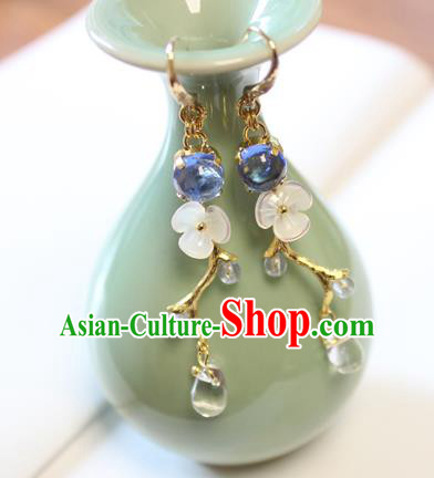 Chinese Ancient Handmade Coloured Glaze Earrings Accessories Hanfu Eardrop for Women