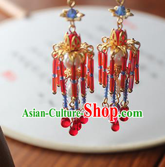 Chinese Ancient Handmade Red Beads Earrings Accessories Hanfu Eardrop for Women