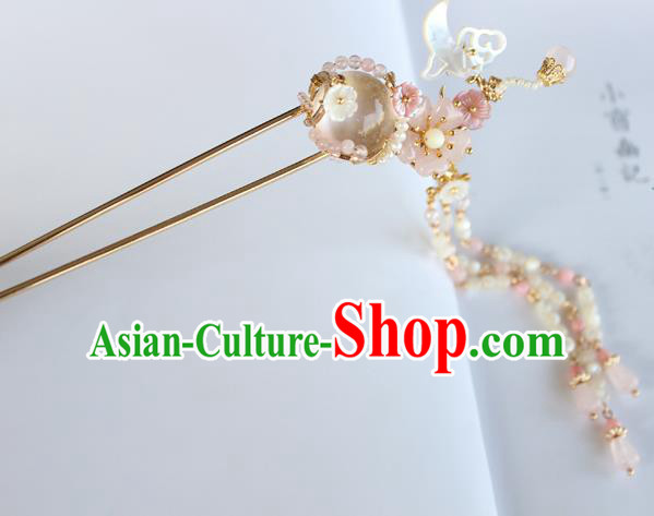 Chinese Ancient Handmade Palace Pink Tassel Hair Clip Hair Accessories Hanfu Hairpins for Women