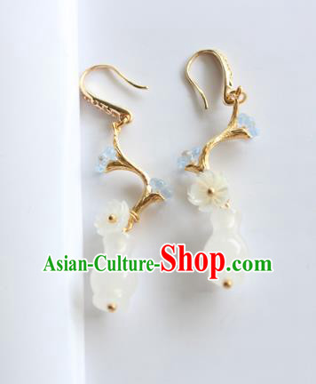 Chinese Ancient Handmade Jade Vase Earrings Accessories Hanfu Eardrop for Women
