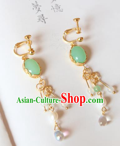 Chinese Ancient Handmade Hanfu Accessories Coloured Glaze Earrings for Women