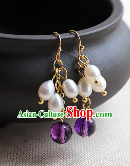 Chinese Ancient Handmade Classical Pearls Earrings Accessories Hanfu Purple Bead Eardrop for Women