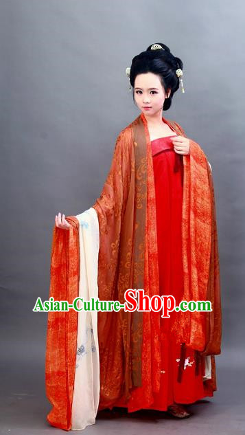 Chinese Ancient Imperial Consort Costume Traditional Tang Dynasty Imperial Concubine Yang Embroidered Hanfu Dress for Women